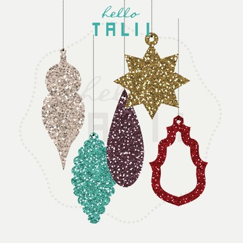 Clip Art: Vintage Christmas Glitter Ornaments