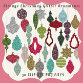 Clip Art: Vintage Christmas Glitter Ornaments