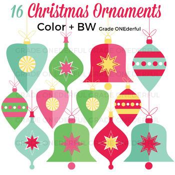 Vintage Christmas Ornaments Clipart, Christmas Clip Art