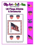 Clip Art - Vintage US Flags, Ornaments and Shield