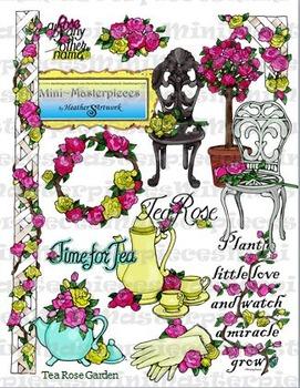 Clip Art: Volunteer Tea Rose Garden Clipart by HeatherSArtwork