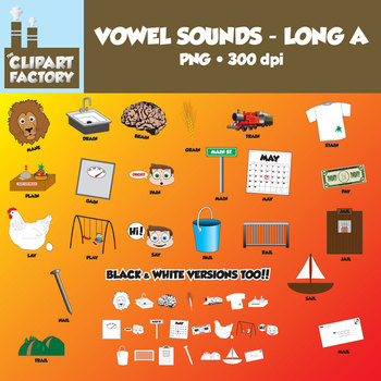 Clip Art: Vowel Sounds Long A-Images for words with long a sound