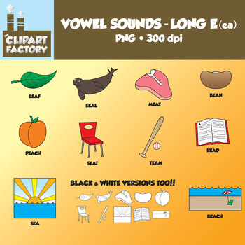 Clip Art: Vowel Sounds Long E(ea)-Images for words with long e sound using ea