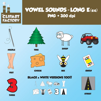 Clip Art: Vowel Sounds Long E(ee)-Images for words with long e sound using ee