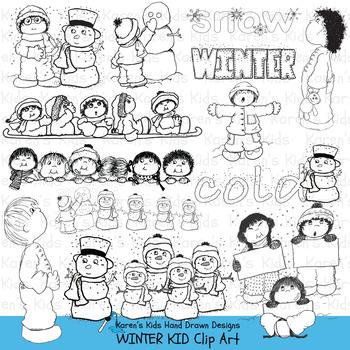 Clip Art WINTER KIDS (Karen's Kids Studio)