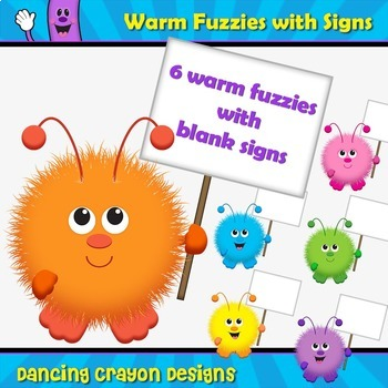 Warm Fuzzy with Blank Sign / Warm Fuzzies Clipart Set
