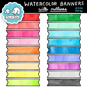 Clip Art: Watercolor Banners With Outlines Personal and Commercial Use OK