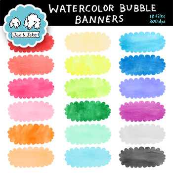 Clip Art: Watercolor Bubble / Cloud Banners Personal and Commercial Use OK