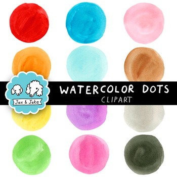 Clip Art: Watercolor Dots / Circles for Personal and Commercial Use