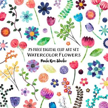 Clip Art - Watercolor Flowers Bundle