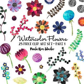 Clip Art - Watercolor Flowers