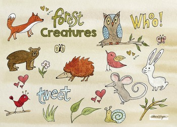 Clip Art: Watercolor Forest Animals and Digital Papers