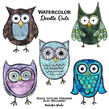 Clip Art - Watercolor Owls