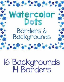 Clip Art-  Watercolor Polka Dot Borders and Backgrounds