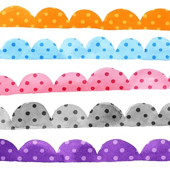 Clip Art: Watercolor Polka Dot Scallop Borders Personal and Commercial Use OK