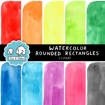 Clip Art: Watercolor Rounded Rectangles Personal and Commercial Use OK