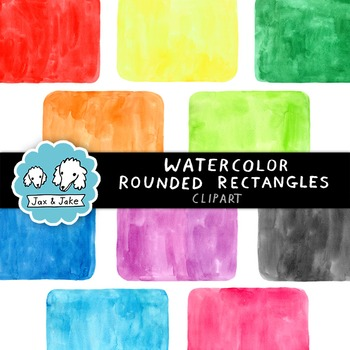 Clip Art: Watercolor Rounded Rectangles Personal and Comme