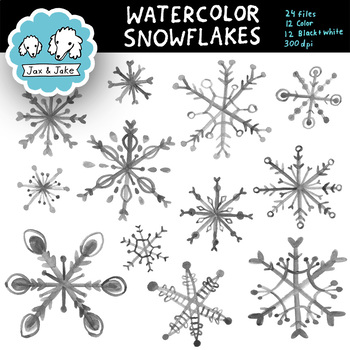 Clip Art: Watercolor Snowflakes Winter Holiday Personal and Commercial Use OK