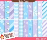 Winter Backgrounds Digital Paper Patterns