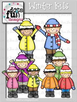 Clip Art: Winter Kids ~Dots of Fun Designs~