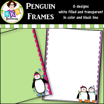 Clip Art ○ Winter Penguin Frames ○ Products for TpT Sellers by BKB ...