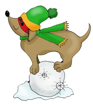 Clip Art: Winter Snow Dachshund Dogs by HeatherSArtwork