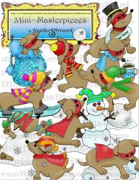 Clip Art: Winter Snow Dachshund Dogs by HeatherSArtwork