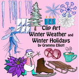 Winter Clip Art Color & BW jackfrost icicles skate bells tree candles poinsettia