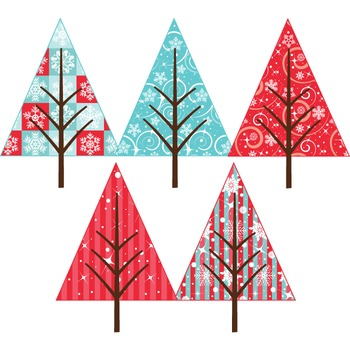 Clipart - Patterned Christmas Trees