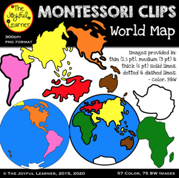 Clip Art: World Map & Continents (includes solid, dotted, & dashed lines!)