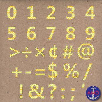 Clip Art: Yellow Chevron Stitched Alphabet & Numbers Clip Art Set (Letter Tiles)