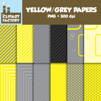Clip Art: Yellow/Grey Backgrounds - 12 Digital Papers
