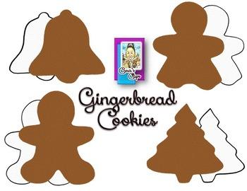 Clip Art~ Yummy Gingerbread Cookies Plus Line Art