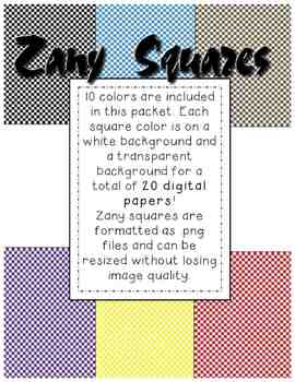 Clip Art: Zany Squares Checkerboard Digital Backgrounds