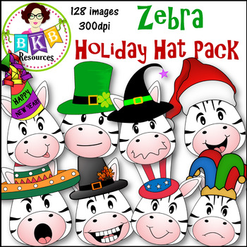 Clip Art ● Zebra Holiday Hats ● Products for TpT sellers
