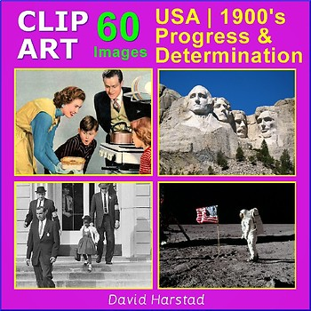 Clip Art & Posters | USA 1900's - Progress & Determination | 60 Images