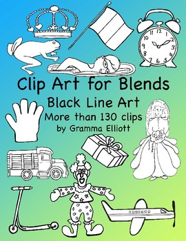 Clip Art for Phonics Blends - 149 Black Line Only Clips