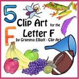 Letter F  Clip Art - Color and Black Line