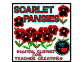Clip Art from the Heart Scarlet Pansies