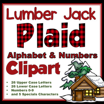 Clip Art letters-Buffalo Christmas Plaid Winter 67 letters and numbers