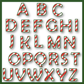 Clip Art letters-Candy Cane Alphabet Winter 67 letters and numbers