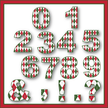 Clip Art letters-Cozy Christmas Argyle Winter 67 letters and numbers