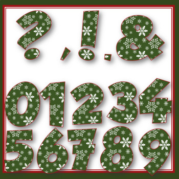 Clip Art letters- Dark Green with white snowflakes Winter 67 letters and numbers
