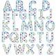 Clip Art letters-Hand drawn colorful hearts Valentine alphabet