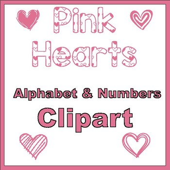Clip Art letters-Hand drawn pink Valentine hearts on white Alphabet Clip art