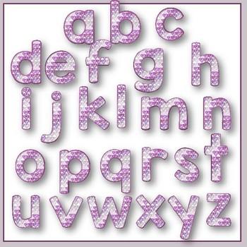 Clip Art letters-Hand drawn purple scribble hearts Valentine alphabet