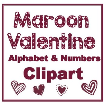Clip Art letters-Hand drawn white Valentine hearts on Maroon Alphabet