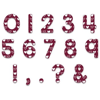 Clip Art letters-Hand drawn white Valentine hearts on Maroon Alphabet