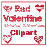 Clip Art letters-Hand drawn white Valentine hearts on red