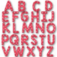 Clip Art letters-Hand drawn white Valentine hearts on red Alphabet Clip art